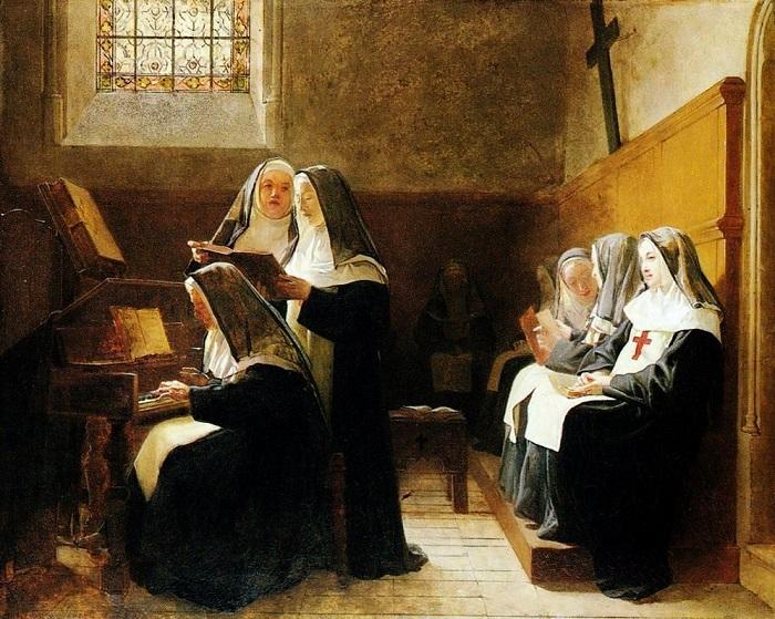Репетирующие монахини на картине Жеана Жоржа Вибера.